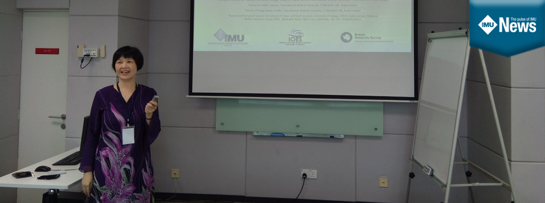 An IMU lecturer presented the findings of a medical biotechnology final year project at the Malaysian International Seminar on Antarctica.