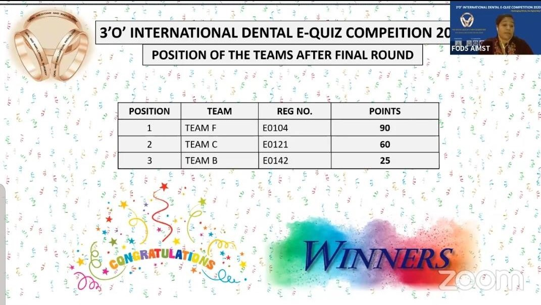 Two IMU dental students was in the top team to win in the 3'O' International Dental E-Quiz Competition 2020.